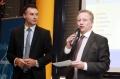 Geschäftsführer vom Trierischen Volksfreund Thomas Marx (links) und Herr Schwarz von der Sparkasse Trier (Marketingleiter)