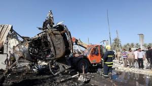 Das Auto, in dem der Selbstmordattentäter sich in die Luft sprengte.